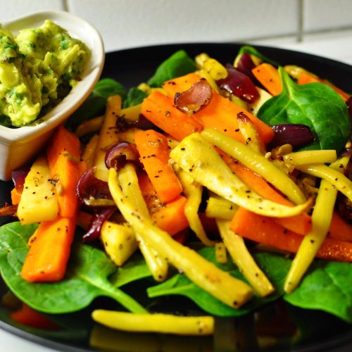 Oven roasted Vegetables with Avocado and Basil Creme
