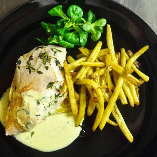 Chicken breast with thyme sauce